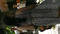 Slut in see through dress at town