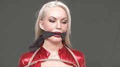 Red Superheroine in Bondage  and humiliated