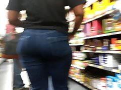 Sexy Jamaican ass vpl in blue jeans