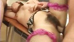 Uncensored Japanese Monica in fishnets gangbang