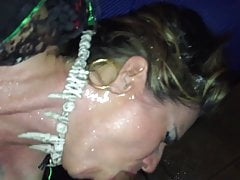 mature sucks cock and get splashed with beer