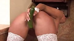 SDRUWS2 - Sexy maid masturbates in the kitchen using veggies