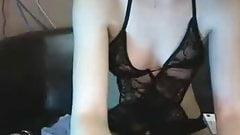 Sexy skinny girl in black lingerie,nice pussy and ass play.