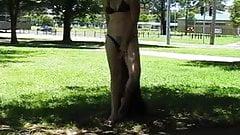 my wife nicki flashing outside pools p1