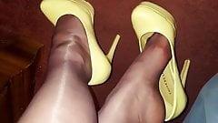 Mature nylon legs