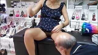 Pussy exposed to old man in shoe shop