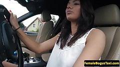 European taxi babe cockrides her passenger