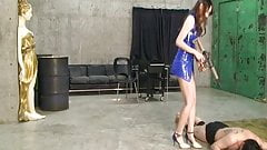 Femdom bang slaves with a whip