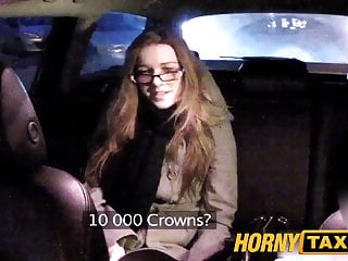 Preview 2 of HornyTaxi Cutie with glasses fucks for rent money