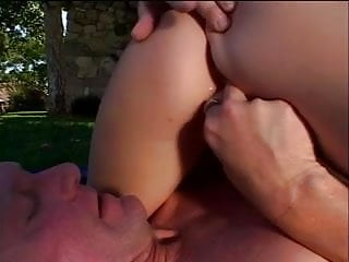 Hot blonde gets a big white cock stuffed in her mouth to suck outdoors then fuck