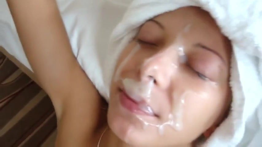 Girl gets her face really cum plastered
