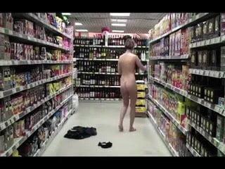 Daring girl strips down in supermarket