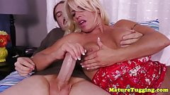 Curvy handjob MILF POV milking cock