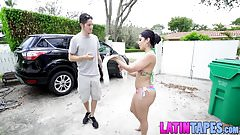 Horny bubble but latina wants to wrestle for big hard cock