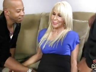 Horny mature cougar getting swarmed by huge black cocks