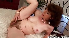 Old woman with furry pussy gets fucked