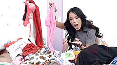 Messy teen finds huge cock hiding in a pile of her panties