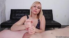 Sexy blonde babe POV handjob