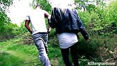 Blonde Milf slut fucked in woods