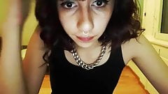 Teen shemale shows her pierced nipples and jerks off