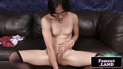 Femboy Cam jerks cock while toying tight ass