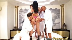 Busty Latina tranny gang bang fucked by many big dicks