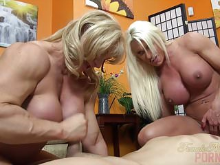 Preview 5 of Two Female Bodybuilders Fuck One Dude