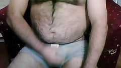 Chubby hairy turk wanks and cums