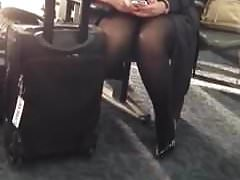 Upskirt Pantyhose Flight Attendant