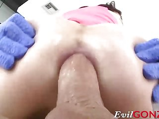 Anna De Ville shoving his thick rod deep inside her ass