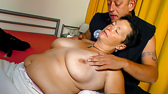 AMATEUR EURO - German Chubby Granny Seduced By Mature Man