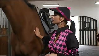 Hot young jockey Tera get a riding lesson