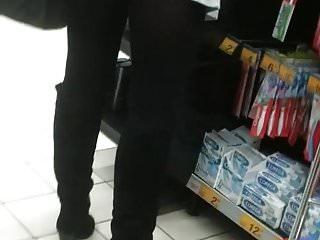 Upskirt woman 7 - Sexy mom black pantyhose - No panty