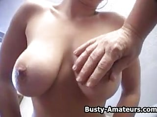 Busty amateur babe masturbates her pussy and sucking cock