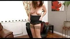 Chubby brunette mature strips