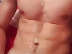 Skinny abs guy cumshot