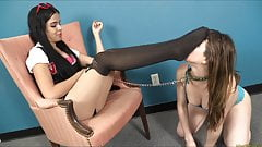 Teen with foot slave