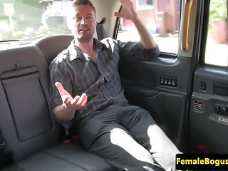 Preview 1 of Female british cabbie cockrides her passenger
