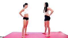 Asian vs Brunette Bikini Catfight Femdom Scissorhold 's Thumb