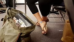 Candid Smooth College Feet in Flip Flops in Classroom