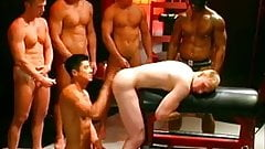 Pasty white boy gets used by tanned hunks