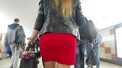 Big ass in red skirt