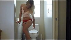 Blonde Masturbates in Bathroom