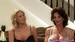 Bigtitted lesbian straponfucked in threeway