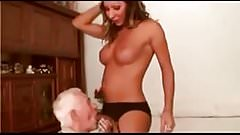 Grandpa was fucked by really cute young shemale