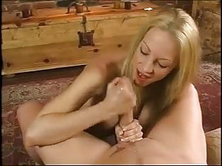 Handjob sexy blond uses oil