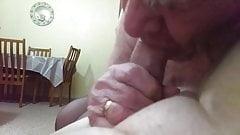 Danielle (Old 84yo) TV sucking Rob's cock (Part 2)