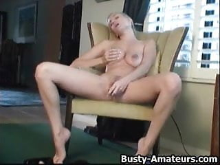 Busty Autumn fingering her pussy while standing