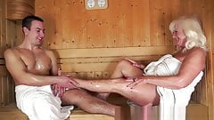 old lady in the sauna