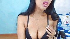 girl show me her blue bra wearing her black one